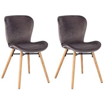 Habitat Etta Pair of Velvet Dining Chairs with Wooden Legs - Grey (H82.5 x W48 x D56cm)