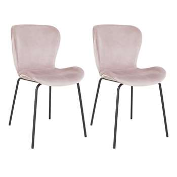 Habitat Etta Velvet Dining Chair with Black Metal Legs - Pink (H82.5 x W48 x D56cm)