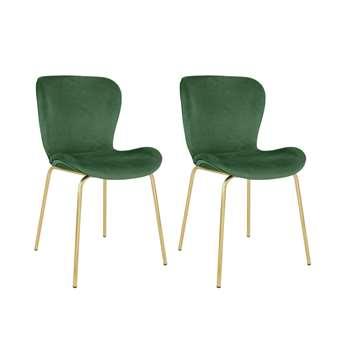 Habitat Etta Velvet Dining Chair with Metal Legs - Green (H82.5 x W48 x D56cm)