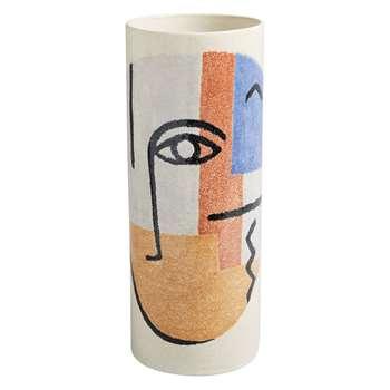 Habitat Faces Multi-Coloured Patterned Large Cylinder Vase