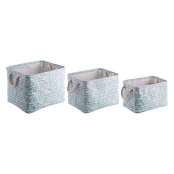 Habitat Firth Set Of 3 Blue Printed Fabric Storage Boxes (20 x 22cm)
