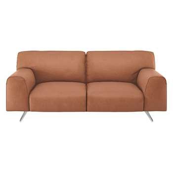 Habitat Flyn Tan Luxury Leather 2 Seater Sofa (76 x 180cm)