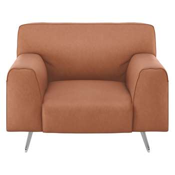 Habitat Flyn Tan Luxury Leather Armchair (76 x 100cm)