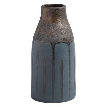 Habitat Gilligan Blue And Metallic Ceramic Bottle Vase