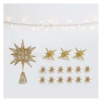 Habitat Gold Stars Gold Christmas Tree Decorations, Tree Topper And Gold LED Garland