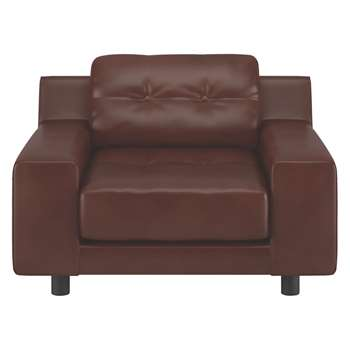 Habitat Hendricks Tan Brown Leather Armchair (76 x 103cm)