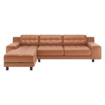 Habitat Hendricks Tan Luxury Leather Left Arm Chaise Sofa (76 x 261cm)