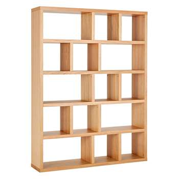Habitat Hopkins Oak Veneer Wide Bookcase (198 x 150cm)