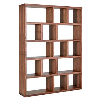 Habitat Hopkins Walnut Veneer Wide Bookcase (198 x 150cm)