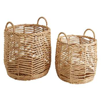 Habitat Horatio Set Of 2 Round Water Hyacinth Storage Baskets (H41 x W42 x D42cm)