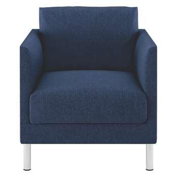 Habitat Hyde Blue Fabric Armchair, Metal Legs (72 x 70cm)