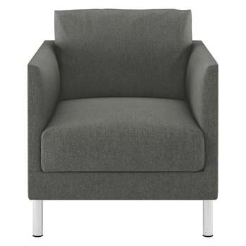 Habitat Hyde Charcoal Fabric Armchair, Metal Legs (72 x 70cm)
