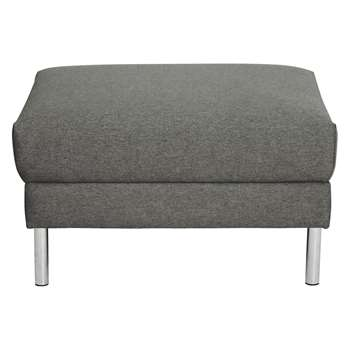 Habitat Hyde Charcoal Fabric Storage Footstool, Metal Legs (42 x 70cm)