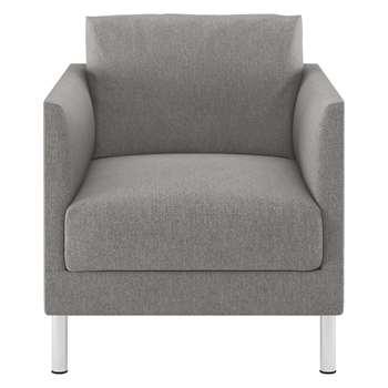 Habitat Hyde Grey Fabric Armchair, Metal Legs (72 x 70cm)