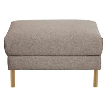 Habitat Hyde Natural Fabric Storage Footstool, Wooden Legs (42 x 70cm)