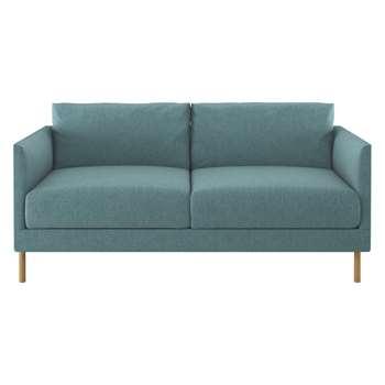 Habitat Hyde Teal Blue Fabric 2 Seater Sofa, Wooden Legs (72 x 160cm)