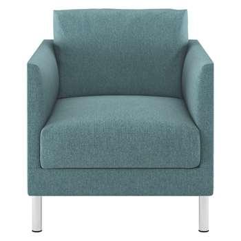 Habitat Hyde Teal Blue Fabric Armchair, Metal Legs (72 x 70cm)