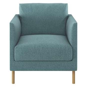 Habitat Hyde Teal Blue Fabric Armchair, Wooden Legs (72 x 70cm)