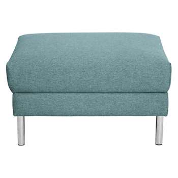 Habitat Hyde Teal Blue Fabric Storage Footstool, Metal Legs (42 x 70cm)