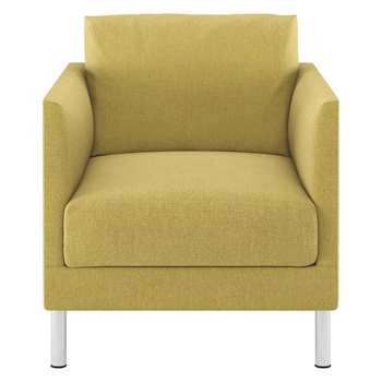 Habitat Hyde Yellow Fabric Armchair, Metal Legs (72 x 70cm)