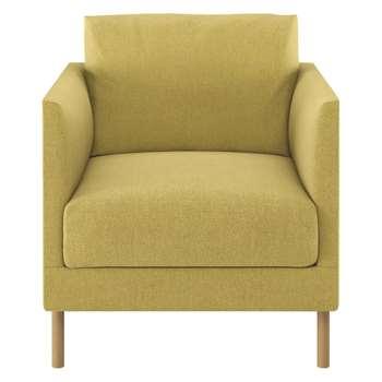 Habitat Hyde Yellow Fabric Armchair, Wooden Legs (72 x 70cm)