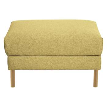 Habitat Hyde Yellow Fabric Storage Footstool, Wooden Legs (42 x 70cm)