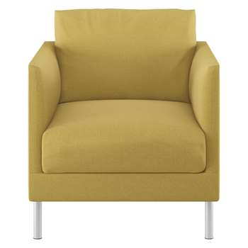 Habitat Hyde Yellow Textured Woven Fabric Armchair, Metal Leg (72 x 70cm)