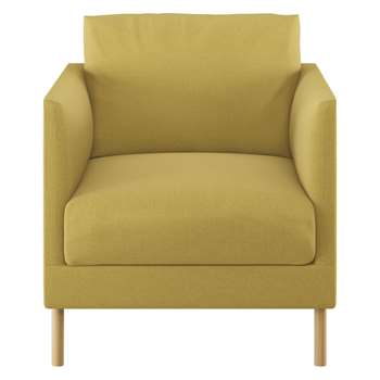 Habitat Hyde Yellow Textured Woven Fabric Armchair, Wooden Leg (72 x 70cm)