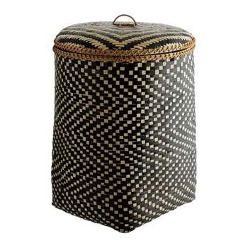 Habitat Idaho Bamboo Weave Laundry Bin - Black 59 x 44cm