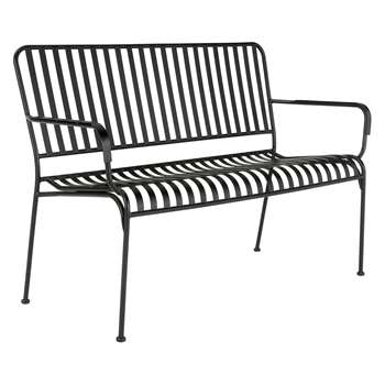 Habitat Indu Black Metal Slatted Garden Bench With Arms (H85 x W123 x D57cm)