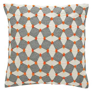 Habitat Irina Black And Orange Embroidered Cushion (H45 x W45cm)