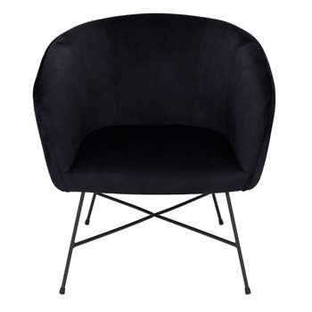 Habitat Jax Velvet Accent Chair - Black (H78 x W72 x D69cm)