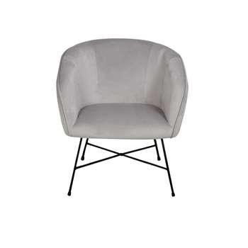 Habitat Jax Velvet Accent Chair - Silver (H78 x W72 x D69cm)