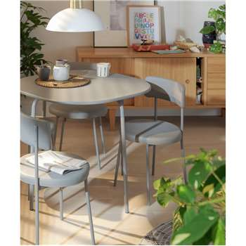 Habitat Jayla Wood Effect Dining Table & 4 Grey Chairs