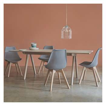Habitat Jerry 4 Seater Dining Set With Jerry Extending Oak Table And 4 Jerry Grey Chairs