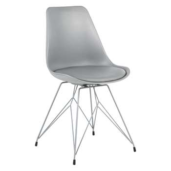 Habitat Jerry Grey Dining Chair With Metal Base (86.5 x 48cm)