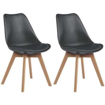Habitat Jerry Pair of Dining Chairs - Black (H84 x W47 x D55cm)
