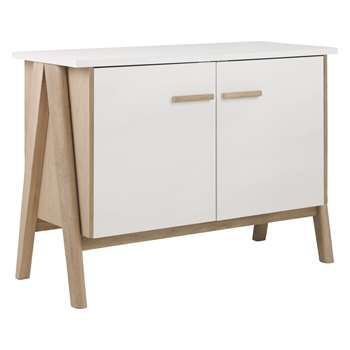 Habitat Jerry White and Oak 2 Door Sideboard (H75 x W104 x D45cm)