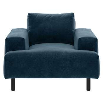Habitat Julien Velvet Armchair - Navy (H83 x W104 x D97cm)