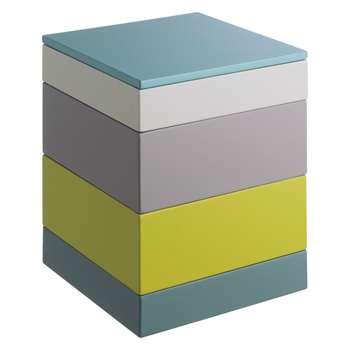 Habitat Karena Multi-Coloured 4-Tier Stacking Storage Box, Yellow/Blue (19 x 15cm)
