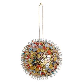 Habitat Kelar Metallic Sequin And Bead Bauble (H10 x W10 x D10cm)