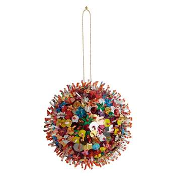 Habitat Kelar Multi-Coloured Sequin And Bead Bauble (H10 x W10 x D10cm)