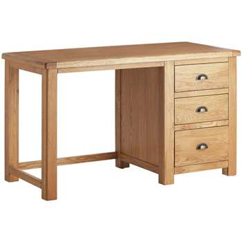 Habitat Kent 3 Drawer Office Desk - Oak & Oak Veneer (H72 x W120 x D55cm)