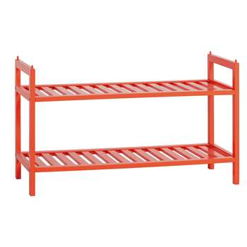 Habitat Kitt Bamboo 2 Shelf Shoe Rack - Orange (H41 x W70 x D28cm)