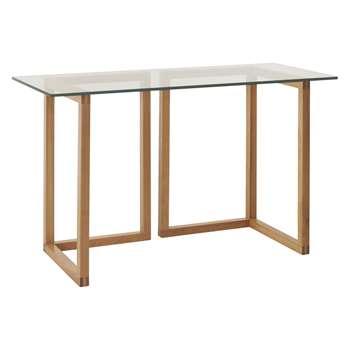 Habitat Kusa Small Glass And Oak Trestle Desk (72 x 120cm)