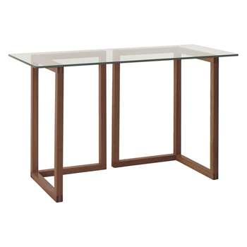 Habitat Kusa Small Glass And Walnut Trestle Desk (72 x 120cm)