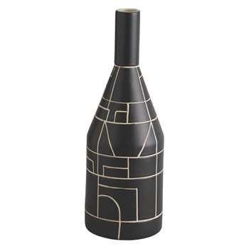 Habitat Kynoch Black Patterned Ceramic Bottle Vase (30.5 x 10.5cm)