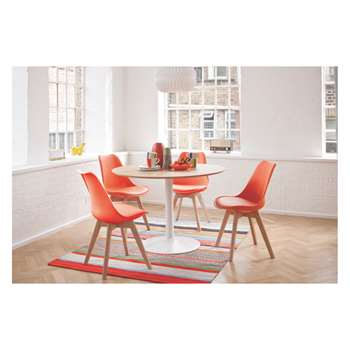 Habitat Lance 4 Seater Dining Set With Lance Oak Table And 4 Jerry Orange Chairs (74 x 110cm)