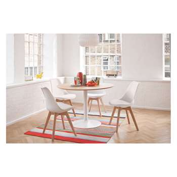 Habitat Lance 4 Seater Dining Set With Lance Oak Table And 4 Jerry White Chairs