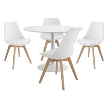 Habitat Lance 4 Seater Dining Set With Lance White Table And 4 Jerry White Chairs (Diameter 110cm)